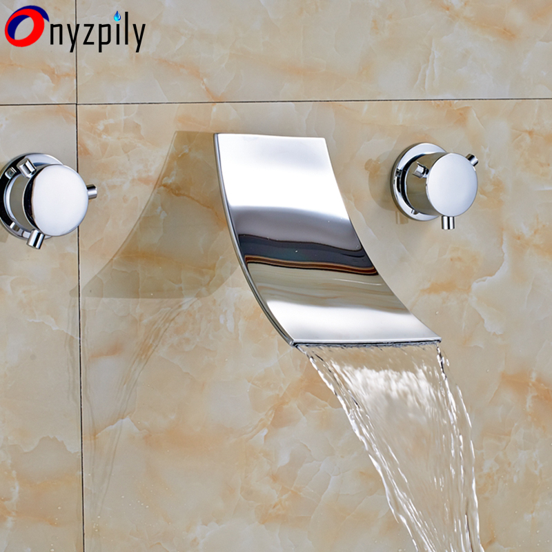 Chrome Wall Mount Waterfall Spout Bathroom Faucet Tub Sink Mixer Tap Dual Handles Mixer wall mounted bathroom waterfall spout bathroom sink faucet tub mixer tap chrome finish
