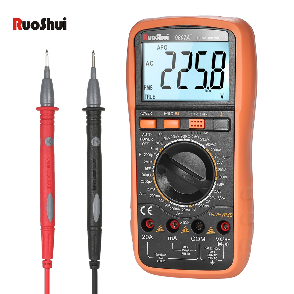 RuoShui DMM Digital Multimeter DC AC voltmeter Ammeter Resistance Diode Capacitance Tester Frequency Conductance hFE Measurement digital multimeter mastech ms8264 dmm temperature capacitance tester multimeter handheld ammeter multitester