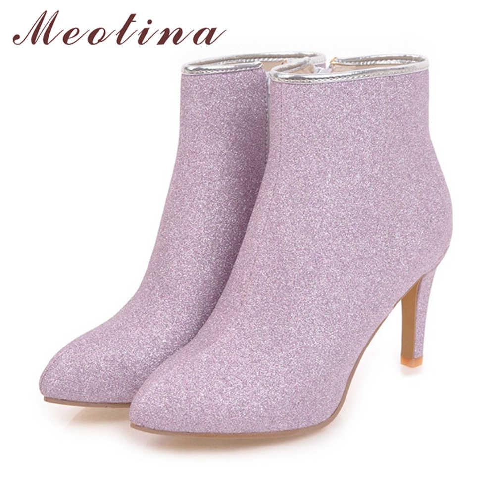 Meotina Kadın yarım çizmeler Sıcak Kış Çizmeler Zip Bayanlar Ince Yüksek Topuk Çizmeler Ayakkabı Bling Seksi parti ayakkabıları Gümüş Altın Mor 43