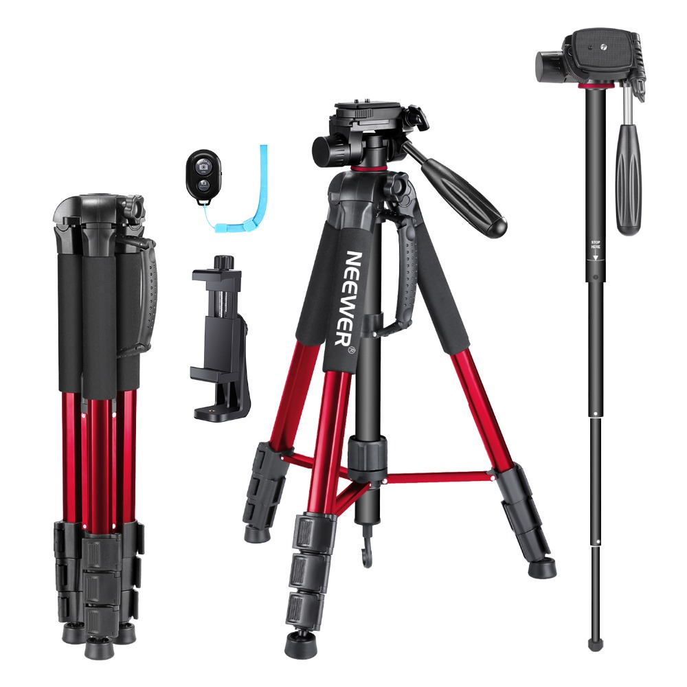 Neewer 70 inches Aluminium Camera Tripod Monopod with 3-Way Swivel Pan Head+Cellphone Holder+Bluetooth Remote+Bag for iPhone