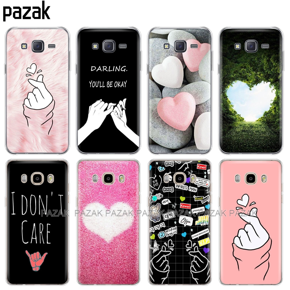 silicone cover phone case for Samsung Galaxy J1 J2 J3 J5 J7 MINI 2016 2015 prime love on the finger heart image