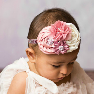Girl Flower Hair Accessories For Girls Elastic Rhinestone Hair Band Cute Girl children Kids Elastic Floral Headband feminino A8