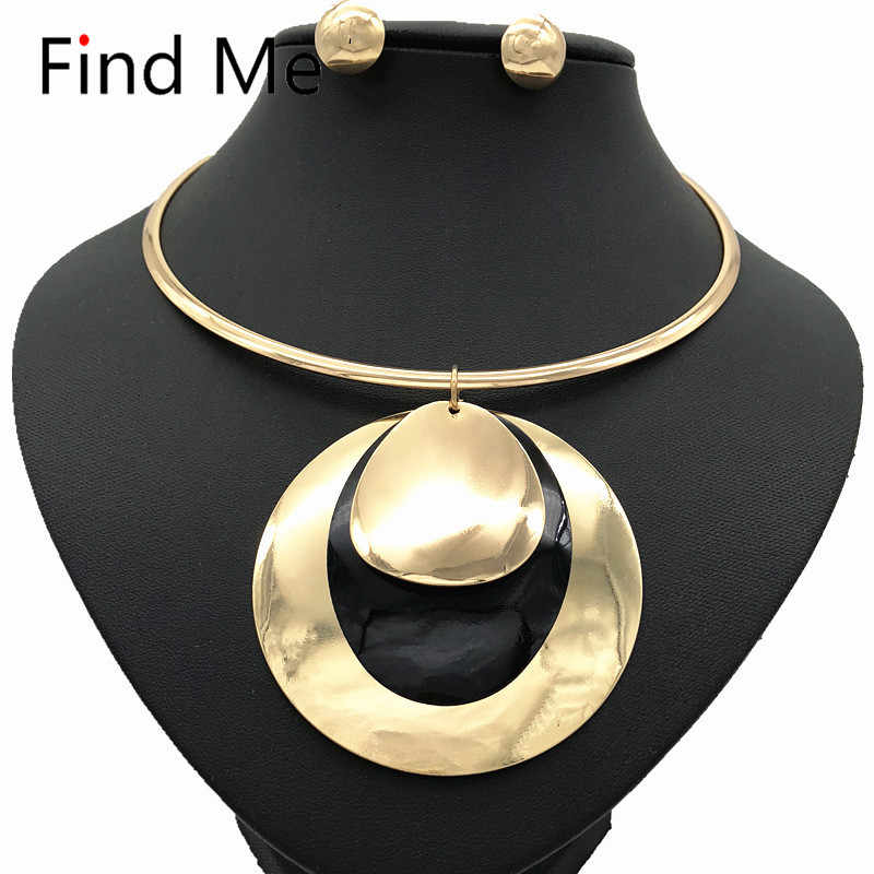 Find Me 2019 fashion long chain big circle collar choker necklace pendants vintage statement necklace women Jewelry wholesale