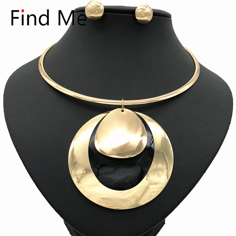 Find Me 2020 fashion long chain big circle collar choker necklace pendants vintage statement necklace women Jewelry wholesale