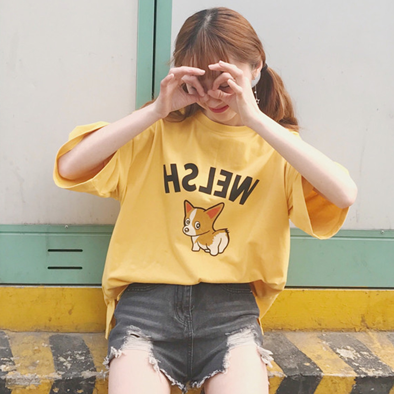 T-shirt Women Clothes 2018 Casual Summer Top Corgi Cuties Print Short Sleeve O-neck Cotton T Shirt Femme Camiseta Mujer Tumblr