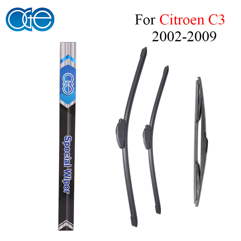 Oge Front And Rear Wiper Blades For Citroen C3 2002 2003 2004 2005 2006 2007 2008 2009 Windshield Car Accessories наволочка цвета терракот issor