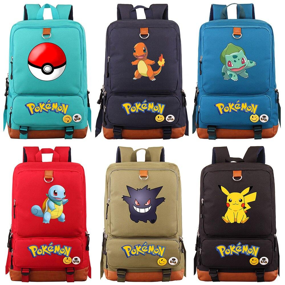 New Anime Squirtle Pikachu Charmander Gengar Boy Girl School Bag Women Bagpack Teenagers Schoolbags Canvas Men Student Backpack