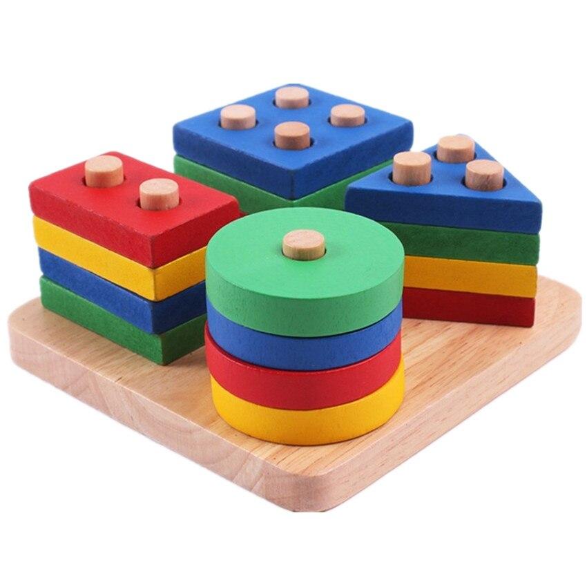 Wooden Educational Toys : Baby toys montessori wooden geometric sorting board blocks