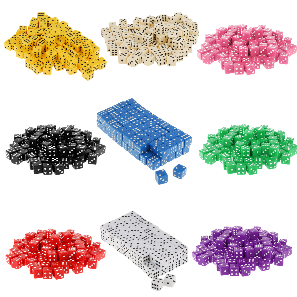 100 Pcs Opaque 16mm Six Sided Spot Dice RPG  D&D Games Party Dice Gambling Game Dices Family BBQ Party Fun Game Multicolour