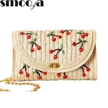 SMOOZA 2018 Горячие Повседневное праздник Для женщин сумка летняя пляжная  одноцветное мини-Соломенная пляжная сумка b83b4fc3fbe