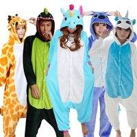 Wholesale Panda Stitch Unicorn Unisex Flannel Hoodie Pajamas Costume Cosplay Animal Onesies Sleepwear For Adults Women