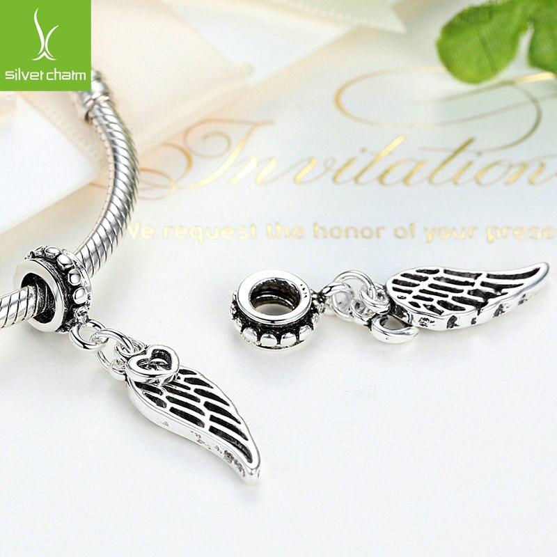 DISINIYA Aliexpress Hot Sale Angel Wing Heart Silver Charm Beads Fit Original wst Bracelet Bangle For Women DIY Jewelry in Beads from Jewelry Accessories