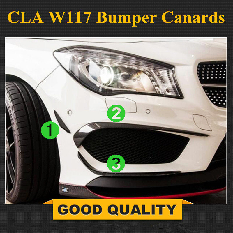 Pour Mercedes Benz CLA W117 Pare-chocs En Fiber De Carbone Canards Classe W117 CLA180 CLA200 CLA250 CLA45 AMG 2013-2016 Splitter rabat Canard