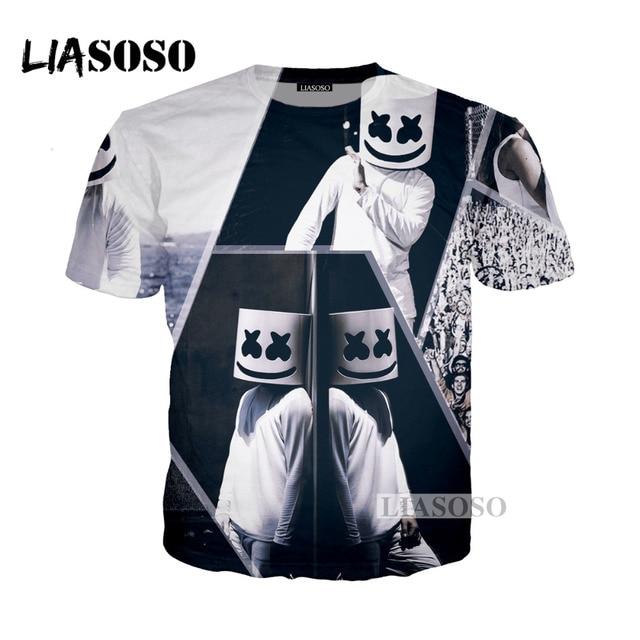 LIASOSO 2018 Harajuku Hip Hop DJ Singer Marshmello 3D Print T Shirt Hoodie