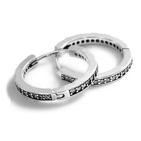 Authentic 925 Sterling Silver Earring Signature Hoop Crystal Studs Earrings for women Wedding fit Pandora Jewelry