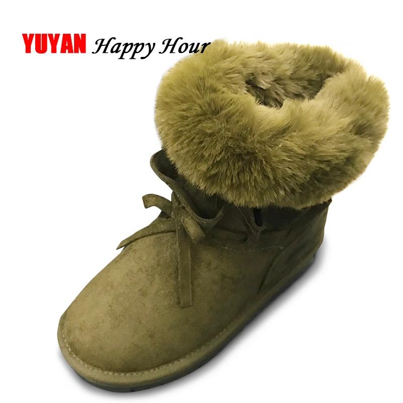 8da6f9673 Piel Zapatos 2019 A Marca Nieve Caliente Las gris Frío Hecho Botas Mujeres  Señoras Negro Felpa Mano A143 El Para Invierno verde De ...
