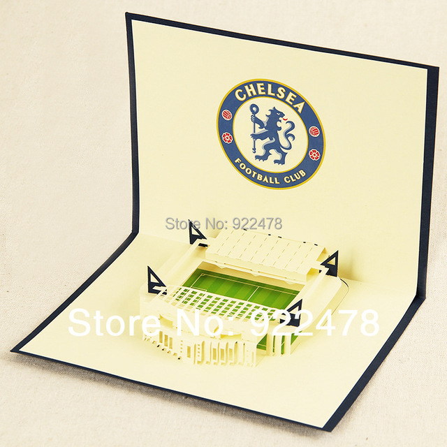 New 3D Chelsea Football Fields Handmade Paper Greeting Cards Birthday Gift Post Card Customized 10pcs Lot Free Shipping