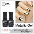 12 шт./лот BD 10 мл металлическое зеркало ногтей гелем soak off UV гель польский Золото Серебро цвет высокое качество и блестящие металлические гели для ногтей