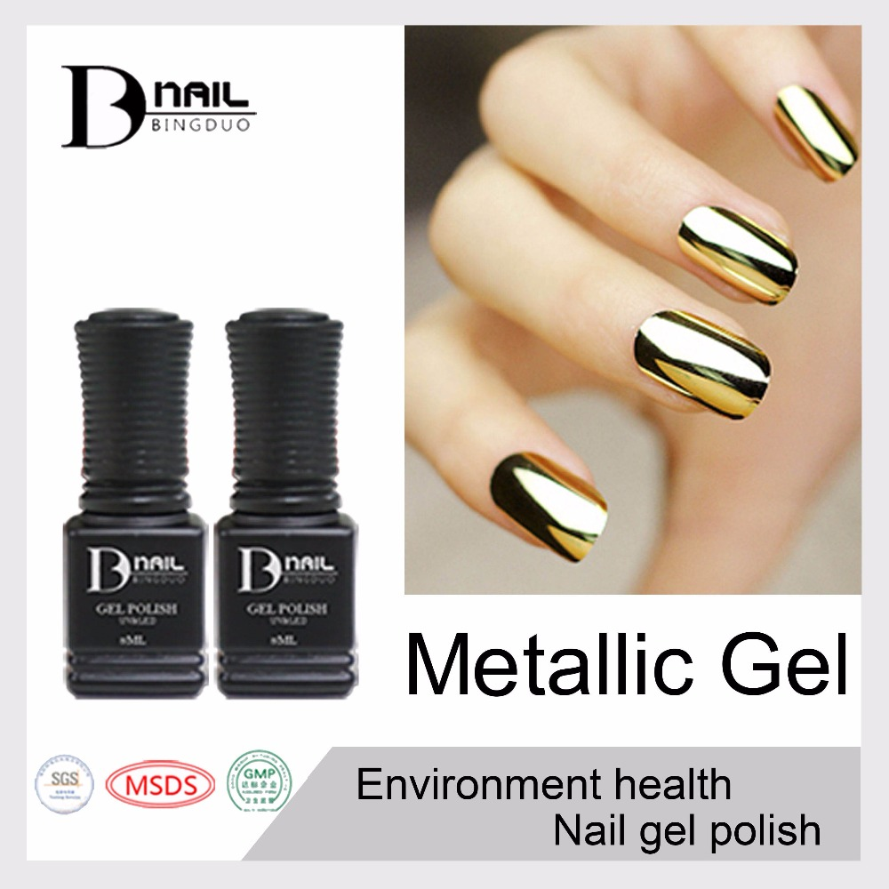 Metallic Gold Nail Polish: 12pcs/lot BD 10ml Metallic Mirror Nail Gel Soak Off UV Gel