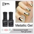 12pcs/lot BD 10ml metallic mirror nail gel soak off UV gel polish Gold Silver color high quality and shiny metal gels nail