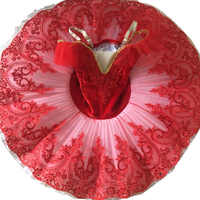 New Children Plattered Tutu Ballet Skirt Red Pettiskirt Swan Lake Show Dance Performance Costume