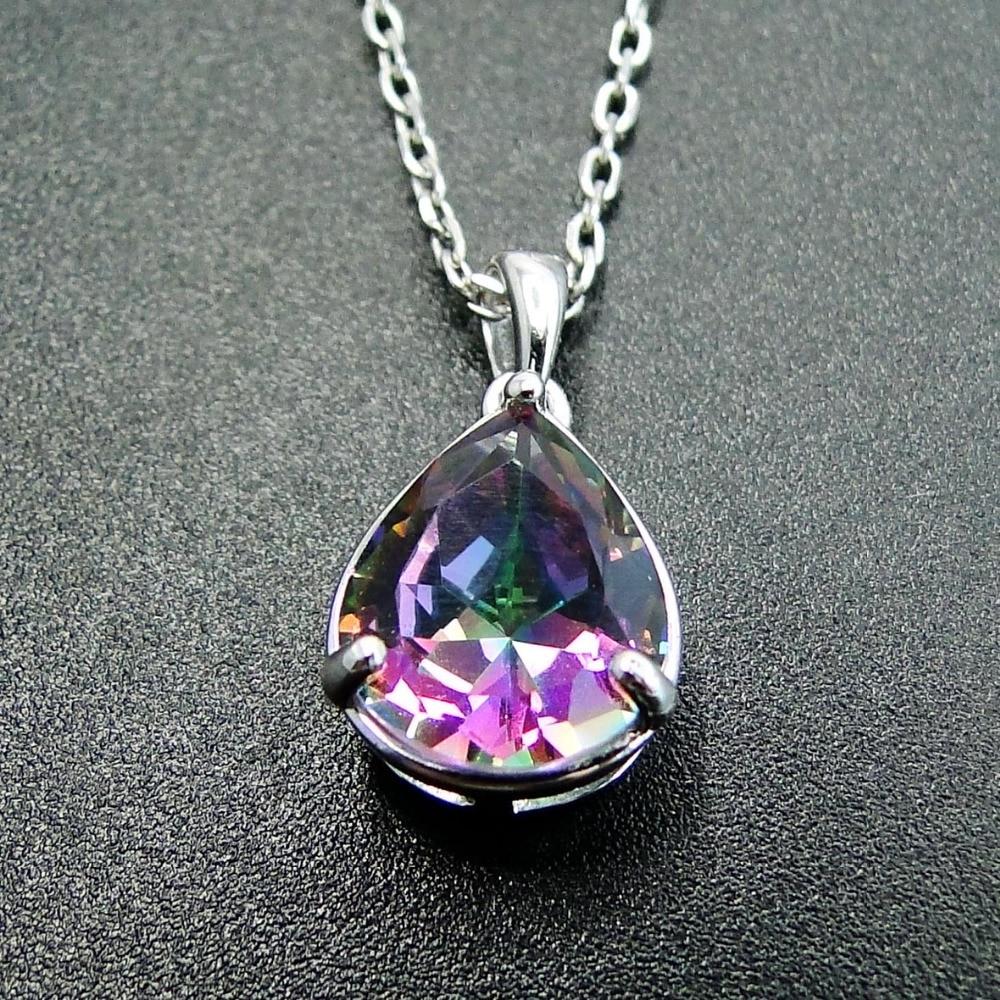 Free Jewelry Box /& Chain Wedding Rainbow Topaz 100/% S925 Sterling Silver Pendant