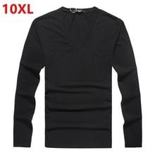 Männliche hinzufügen dünger erhöhte fett körper fett super großen code flut 8XL V reiner baumwolle Lycra kragen langärmelige T-shirt 9XL 10XL
