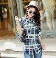 Venda quente! Casual das mulheres camisas de flanela xadrez luva cheia camisas de flanela para as mulheres melhor camisas on line 4 tamanho 9 cores