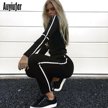 Auyiufar Autumn 2 Two Piece Set Women Tracksuit Crop Top and Pants Casual Outfit Tracksuit Black Fashion Patchwork Female Sets instahot grey tracksuit reflective flash side zip buckle women two piece set autumn crop top cargo pants casual streetwear sets