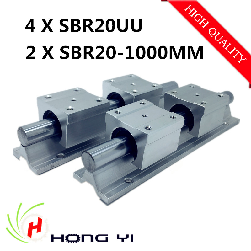 ФОТО 2pcs SBR20 L 1000mm Linear Bearing Rails + 4pcs SBR20UU Linear Motion Bearing Blocks (can be cut any length)