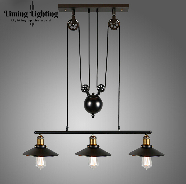 RH Loft  Vintage Iron Industrial LED American Country Pulley Pendant Lights Adjustable Wire Lamp Retractable Lighting 110V-240V