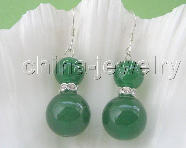 10 - 14 mm natural ronda pendientes de jade verde - plata 925 envío libre