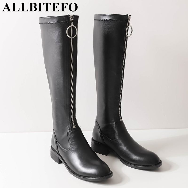 ALLBITEFO brand natural genuine leather +PU women boots low heel girls knee high boots winter fashion thigh high boots woman