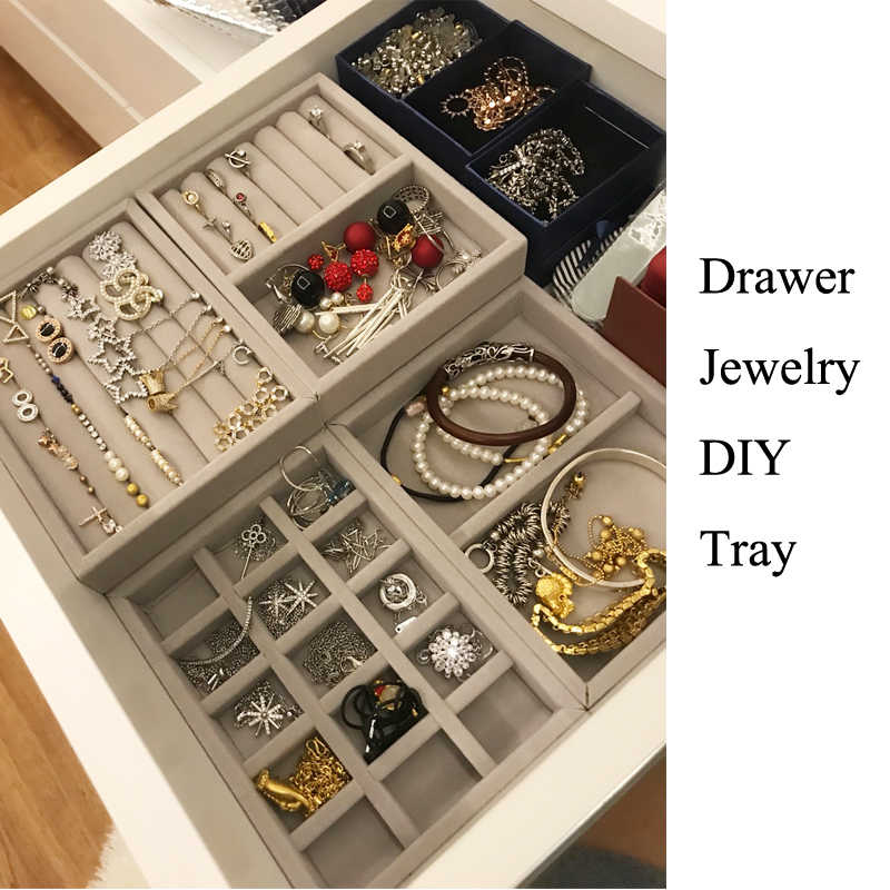 Hot Selling Drawer Diy Jewelry Storage Tray Ring Bracelet Gift Box Jewellery Organizer Small Size Fit Most Dressing Table Space Aliexpress