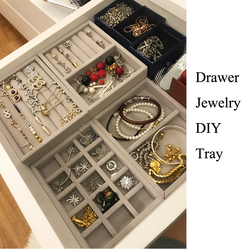 Hot Selling Drawer DIY Jewelry Storage Tray Ring Bracelet Gift Box Jewellery Organizer Small Size Fit Most Dressing Table Space