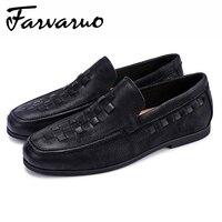 Farvarwo Новый стиль Мужская обувь из натуральной кожи Модная дышащая круглый носок Повседневные платья замшевые мокасины Повседневная Женска