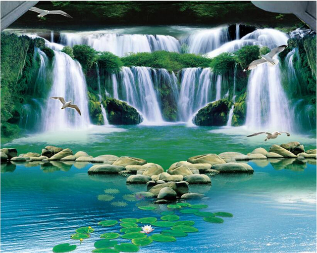beibehang 3d wallpaper Dream waterfall flowing water green forest bathroom bedroom floors design any size