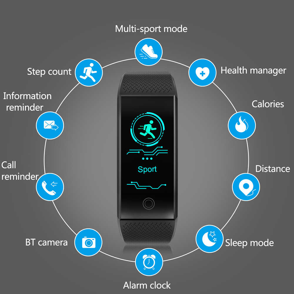 2018 腕時計 QW18 スポーツ心拍監視 IP68 防水時計トップブランドの高級フィットネストラッカーブレスレット