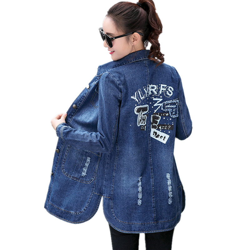 2018 Spring Autumn Woman Vintage Slim Long Denim   Trench   Coats Jeans Plus Size Single Breasted Pocket Windbreaker Outwear C59