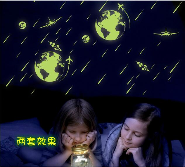 Luminous universe meteor shower fluorescent sticker children s room dormitory refrigerator computer decoration wall stickers