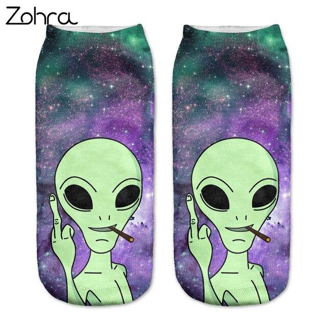 Зухра Новое поступление Для женщин Low Cut носки до лодыжки Веселые пришельцы 3D печать носки хлопок трикотажные носки с