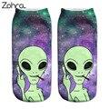 Zohra 2016 mulheres nova chegada do meninas meias baixo tornozelo corte engraçado aliens 3d impressão meias de algodão meias meias impresso