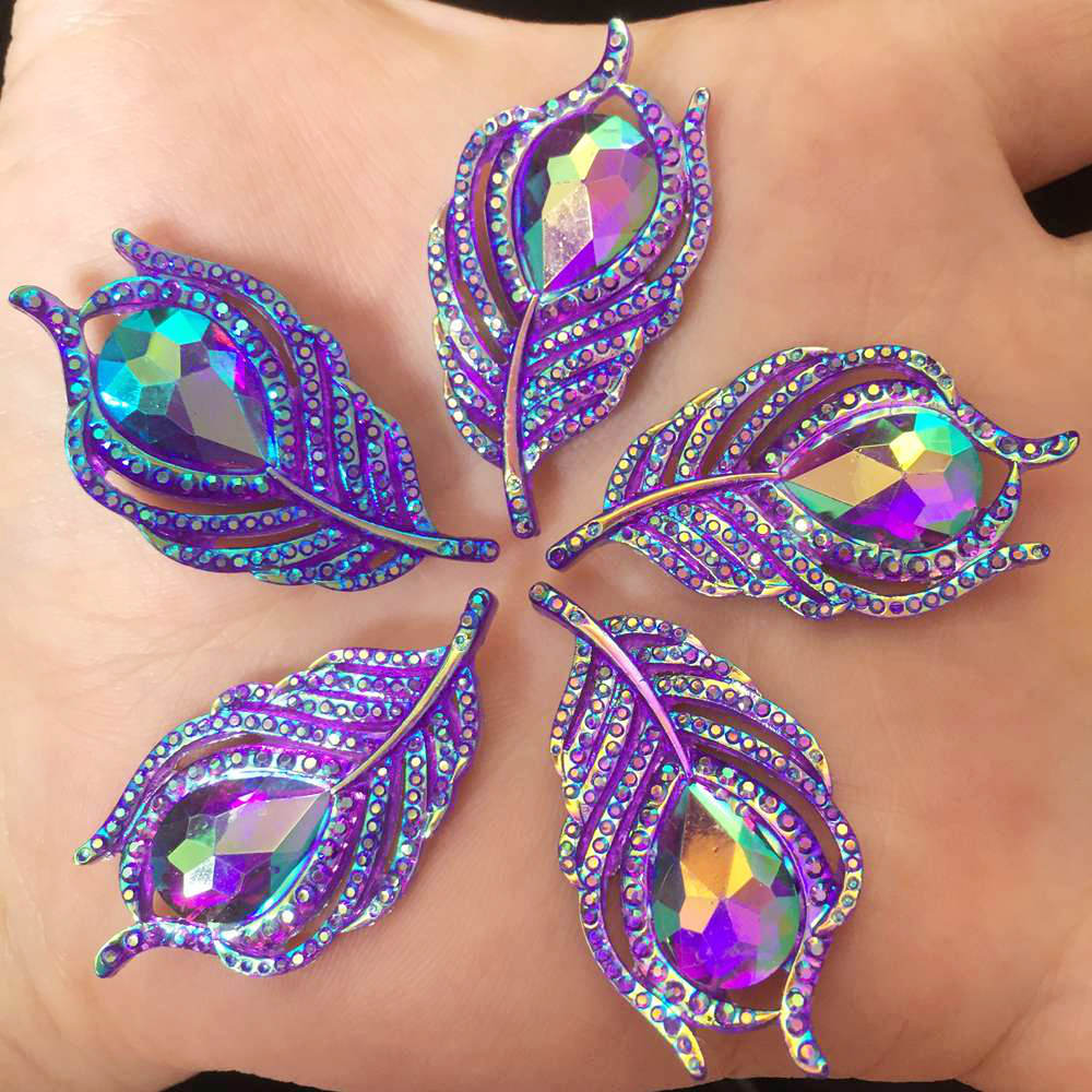 Image 3 - 10PCS  AB Resin 3D Peacock Feathers Flat back rhinestone scrapbook DIY Wedding buttons for clothing appliques  SW19*2-in Rhinestones from Home & Garden