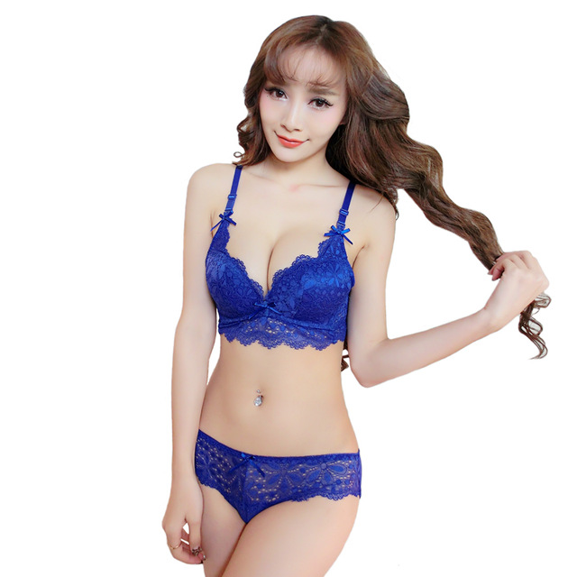 China Brand Sexy Girls Bra Lace Intimates Women Underwear Panties Bra Sets And Brief Push Up Cute Lingerie Black Blue Red White