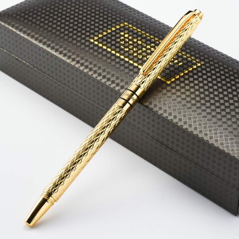 10K Gold Fountain Pen 0 5mm Ink Full Metal luxury pens Caneta Stationery material school supplies