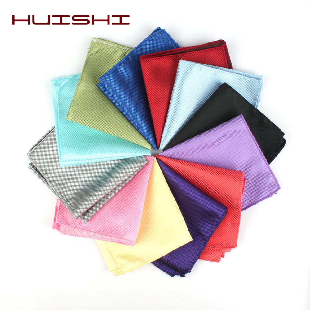 HUISHI Solid Color Vintage Men's Handkerchief Groomsmen Men Polyester Plaid Pocket Square Hanky Handkerchiefs Fashion Party