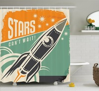 Vintage Decor Shower Curtain Stars Can't Wait Retro Advertisement with Rocket Figure Launch Fabric Bathroom Decor Set with Hooks