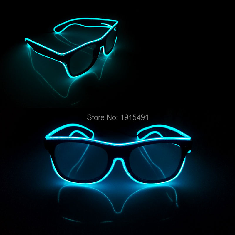 High Quality 50pcs Neon Led Bulbs Glowing Eyewear Fluorescent Show Decor EL Cold Light Trendy Sunglasses for Birthday Carnival 50pcs neon led bulbs crazy masquerade glasses light up el wire glowing hip hop eyewear as concert fluorescent party supplies