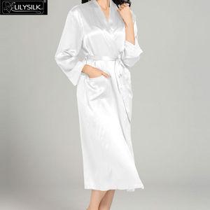 Image 3 - LilySilk 100 шелковая ночная рубашка, халат с карманом для женщин 22 Momme с длинным рукавом Кружевное роскошное Белье для сна Бесплатная доставка