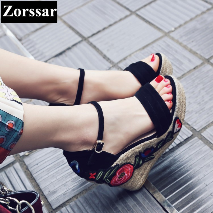 ФОТО Summer Women shoes wedges High heels platform sandals 2017 Fashion Embroidery Ethnic style Suede women's heels pumps shoes